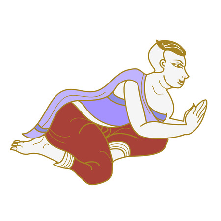beg: Outline of woman in ancient Thailand style Illustration