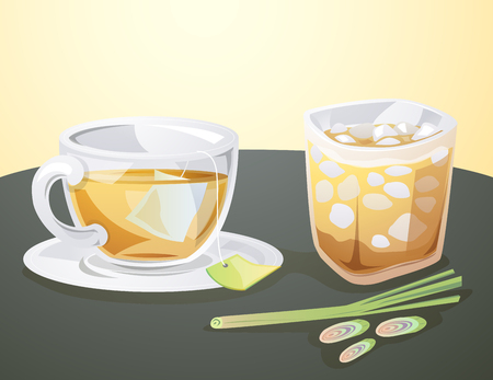 lemon grass: Hot and cool drink of lemon grass juice. Illustration