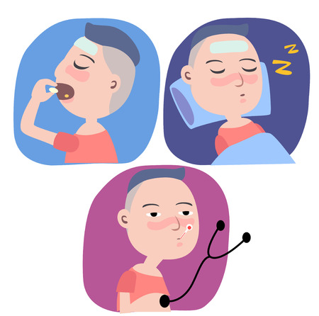 see a doctor: Three action of a boy get a flu, see doctor, and sleep.