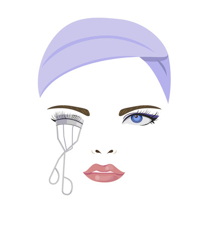curler: Woman are make up and use eyelash curler. Illustration