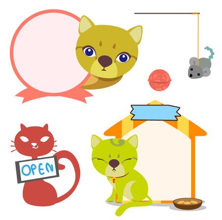 pelota caricatura: Vector de los signos y de juguetes para gatos tienda.