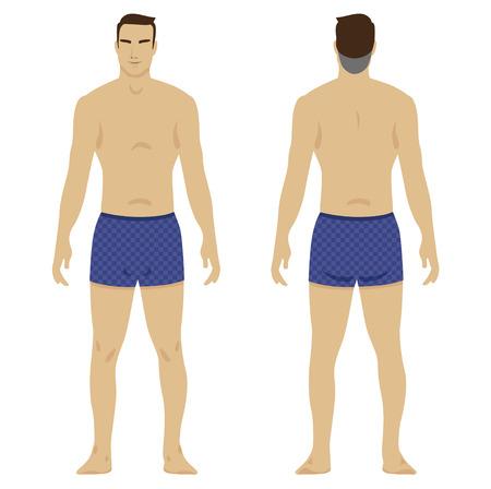 slip homme: corps et forme des hommes. Illustration