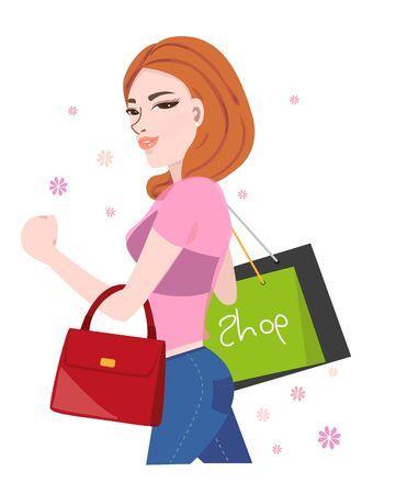leren tas: vrouw bedrijf boodschappentassen en rode lederen tas, winkelen. Stock Illustratie