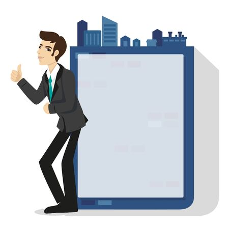 Businessman standing in front of  frame for text input. Illustration