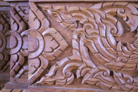 wood carving: Closeup of wood carving in thai art. Stock Photo