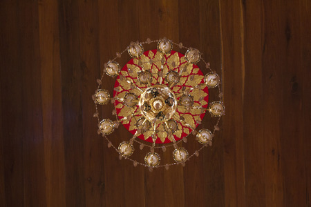 electrical materials: Lamp on the ceiling of the church in temple.