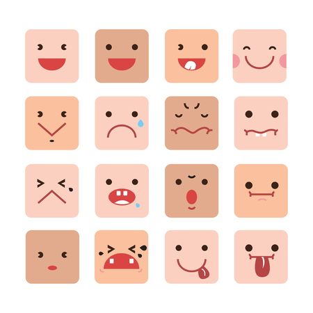different ways: Facial expressions  in different ways on white background.