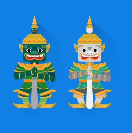 Graphic of giant standing in Thailand art on a blue background .