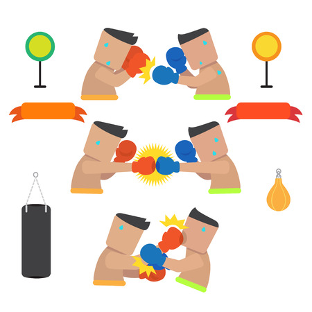 Vector of boxers are boxing in various poses. Illustration