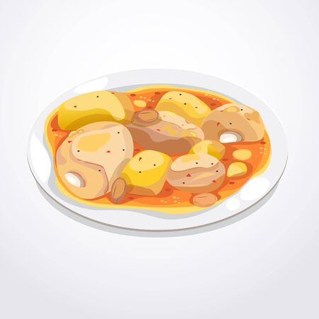curry: Massaman curry in a white bowl with chicken and potatoes. Illustration