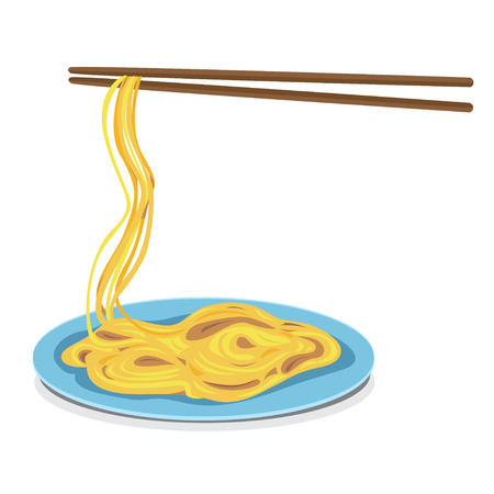 wheaten: Noodles or spaghetti on blue dish and chopsticks