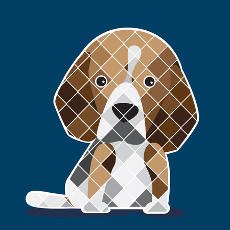 navy blue background: Graphic of  Beagle puppy with navy blue background. Illustration
