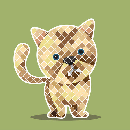 shape cub: Graphic of  kitten with green background.