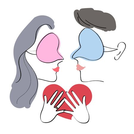 couple sleeping: Vector of sleeping couple and heart-shaped pillow