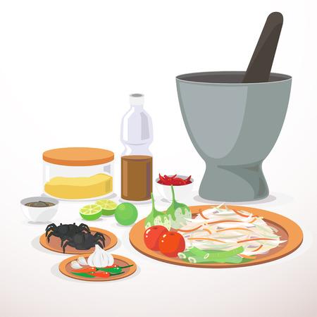 パパイヤのサラダの材料を準備します。  イラスト・ベクター素材