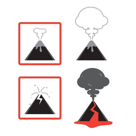 magma: Four image vector graphic icon of volcano.