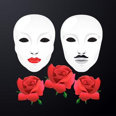black woman: Woman and man mask with rose on black background.