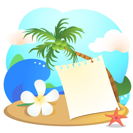 breezy: Notepad laying on the beach with a backdrop of the sea , waves, sky and coconut trees.