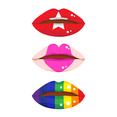 woman lips: Three of colorful lip, fashion lip and rainbow lip.