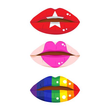 beso labios: Tres de los labios de colores, el labio de la moda y el labio arco iris.