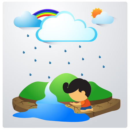 Vector of dry soil and raindrop , clouds , rainbow and people.
