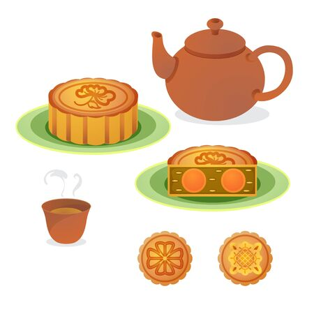 moon: Vector of mooncake with hot chinese tea.