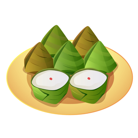 banana leaf: Vector of stuffed dough pyramid wrapped in banana leaf and Chinese pastry in the shape of a basket for make a sacrifice to gods.