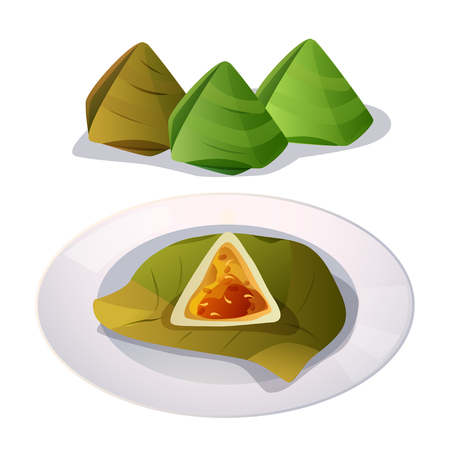 banana leaf food: Vector of stuffed dough pyramid wrapped in banana leaf. Illustration
