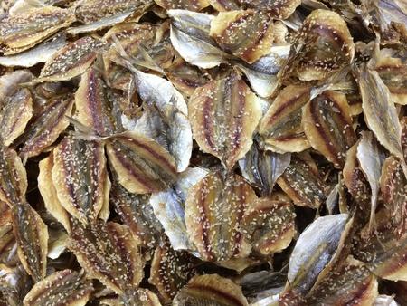 up: Close up of dry fish at fresh market.