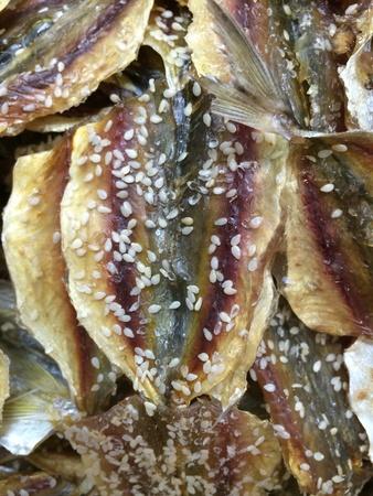 closeup: Close up of dry fish at fresh market.