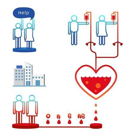 the help: People donate blood to help others. Illustration