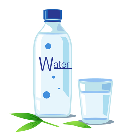 bottle with water: A bottle and a glass of water with green leaf. Illustration
