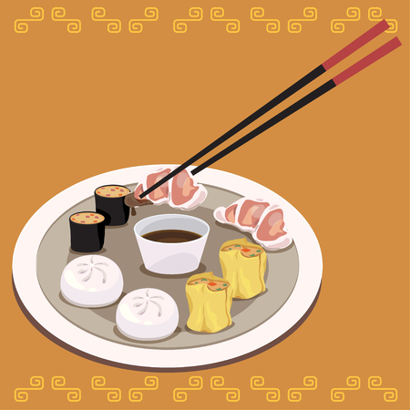 Vector of dim sum dishes with sauce and chopsticks.