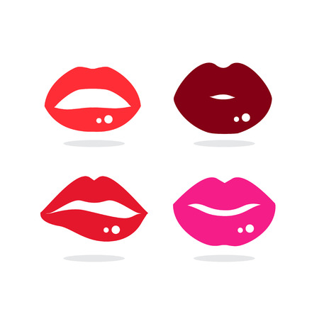 lip colour: Four of kiss lip and  lip colour on white background.