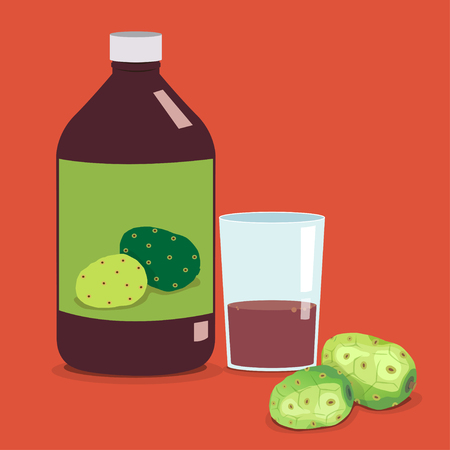 Bottle of noni juice and glass with noni juice and fresh noni.
