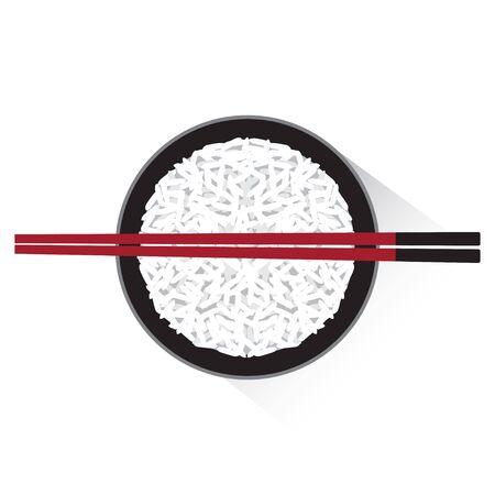 Vectorial de un plato de arroz con palillos.