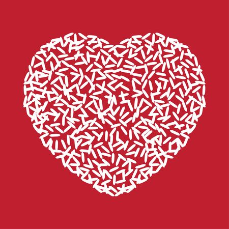 Rice in a heart shape on red background.