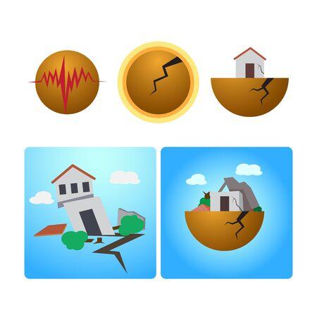 destroyed: The earthquake destroyed home. Illustration