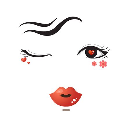 red lips: eyes and lip fashion face on white background. Illustration