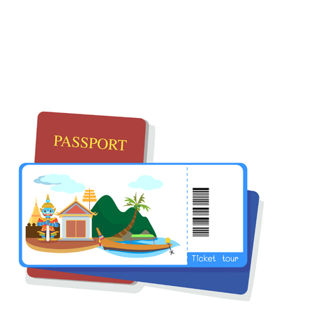 south asia: Passport and tourist ticket thailand on white background.