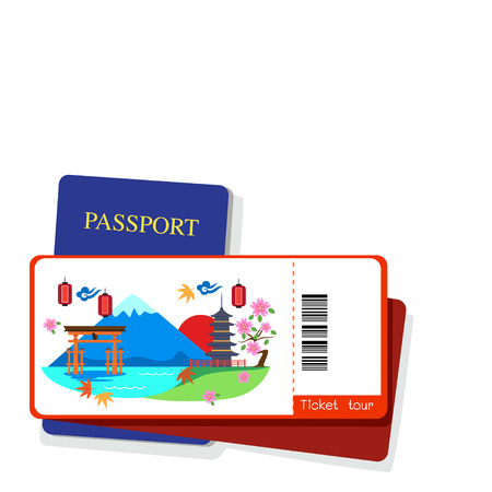 itsukushima: Passport and japan tourist ticket on white background. Illustration
