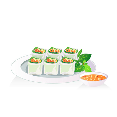 dipping: Fresh spring roll in white ceramic plate with dipping sauce. Illustration