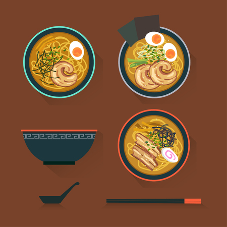 boiled: Three styles ramen soup with spoon and chopsticks. Illustration