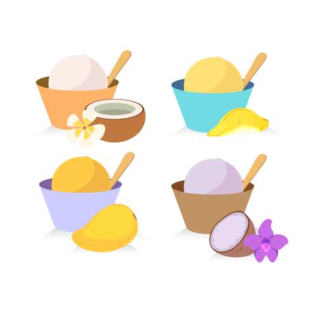 flavour: Four flavors of local ice cream on white background.