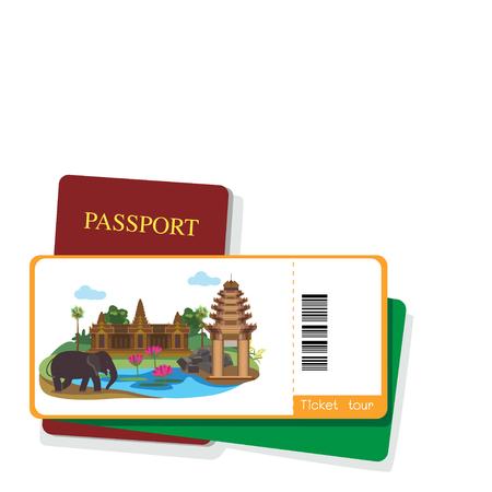 angor: Passport and cambodia tourist ticket on white background.