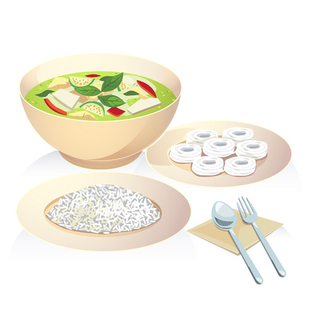 rice plate: Vector of thai food a chicken green curry with rice and rice vermicelli. Illustration