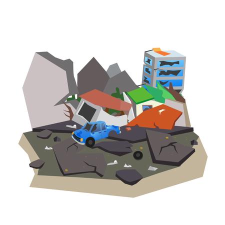 地震は都市を破壊した家屋、道路。