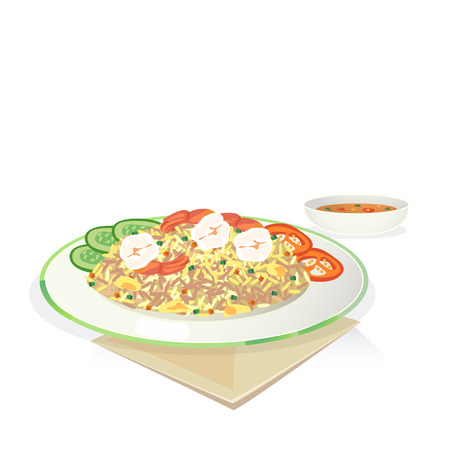 Fried rice with shrimp and egg, cucumber, tomato in dish.