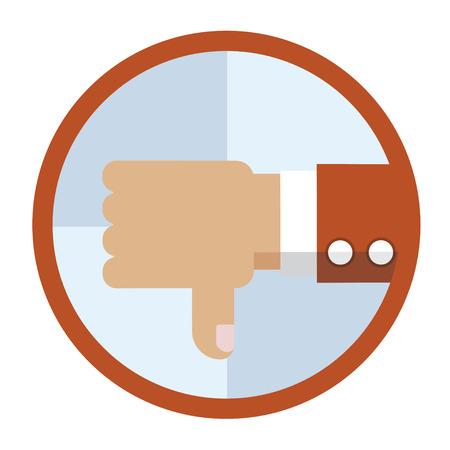 thumb down: Flat icon of human hand give thumb down.