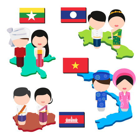 Map, flag and clothing of laos, cambodia, myanmar and vietnam. Stock Illustratie